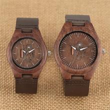 Wooden Couple Watch Quartz Leather Band Handmade Walnut Wood