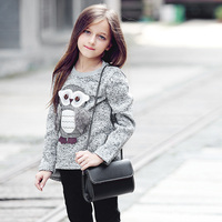 Teen Girls Sweater Autumn Winter Girl Fleece Sweatershirt Cute Dimensional Owl Pattern Child Long Sleeves Leisure