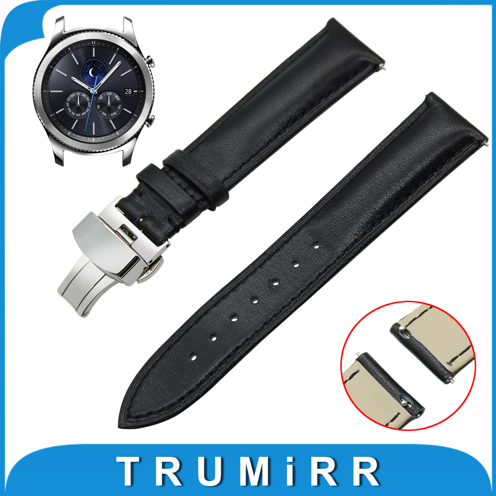 22mm Genuine Leather Watch Band Quick Release Strap for Samsung Gear S3 Classic / Frontier Butterfly Buckle Wrist Belt Bracelet купить