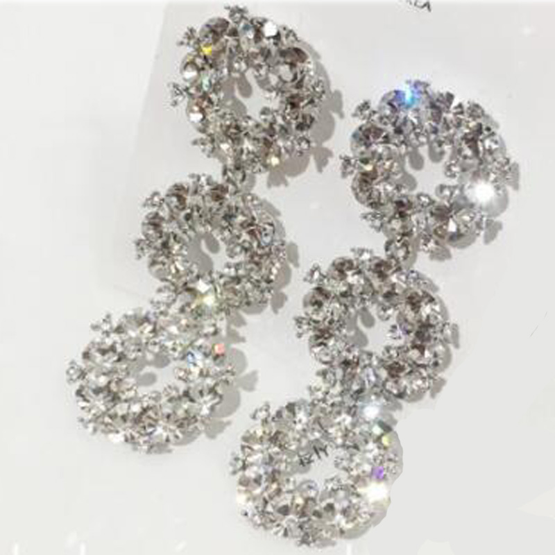 Charmcci Elegant style Crystal round drop earrings for wedding party lady girls in Drop Earrings from Jewelry Accessories