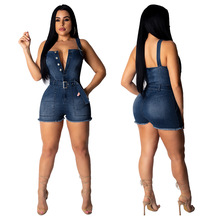 2019 women summer denim spaghetti strap button up sleeveless short jumpsuit party nightclub jumpsuit casual jean combishort 5018 ruffle strap button front palazzo jumpsuit