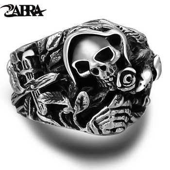 925 Sterling Silver Skull Rings For Men With Cross Flower Howling Eagle Vintage Punk Rock Thai Silver Gothic Domineering Ring - DISCOUNT ITEM  30% OFF All Category