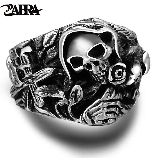 925 Sterling Zilveren Schedel Ringen Voor Mannen Met Cross Bloem Huilende Eagle Vintage Punk Rock Thai Zilveren Gothic Overheersend Ring