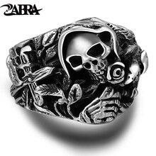925 Sterling srebrna czaszka pierścienie dla mężczyzn z krzyżem kwiat wyjący orzeł Vintage Punk Rock Thai srebrny Gothic władcze pierścień