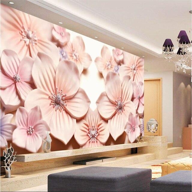 beibehang papel de parede Big wallpaper living room plum art relief ...