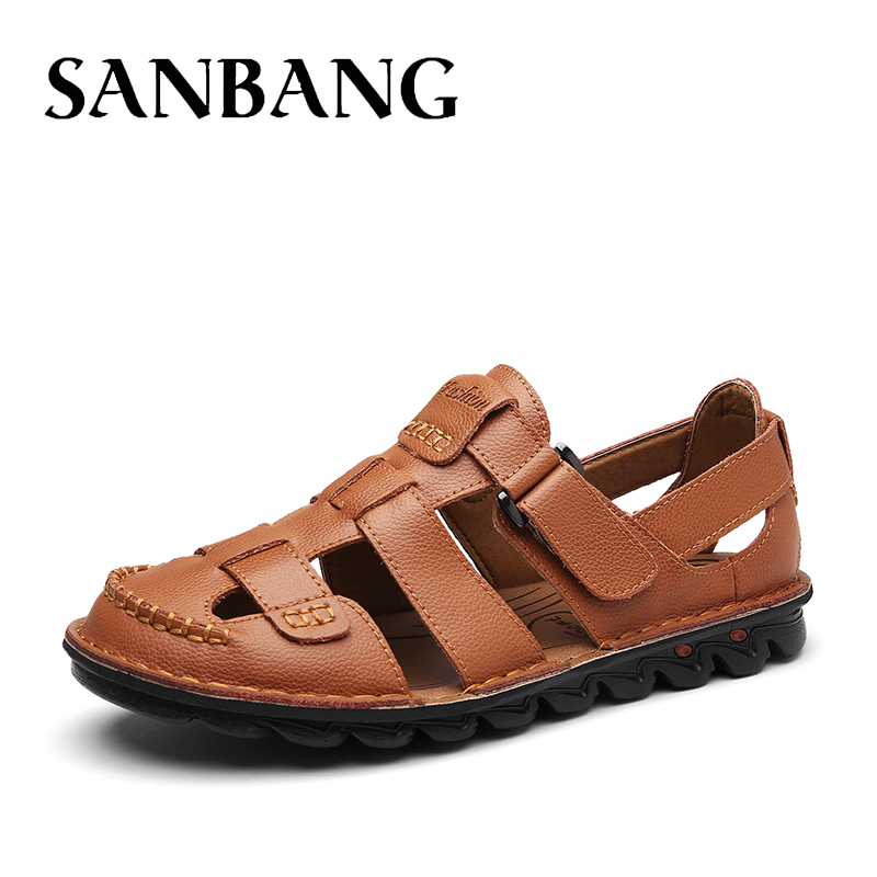 Luxury Genuine Leather Summer Shoes Men Sandals Fashion Male Sandalias Beach Shoes Outdoor Soft Bottom Breathable Footware ix4