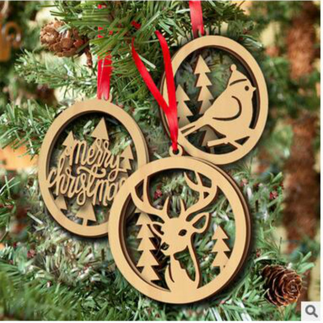 2018 new year wooden bird christmas tree decorations christmas decorations for home christmas elk decorations - Bird Christmas Decorations