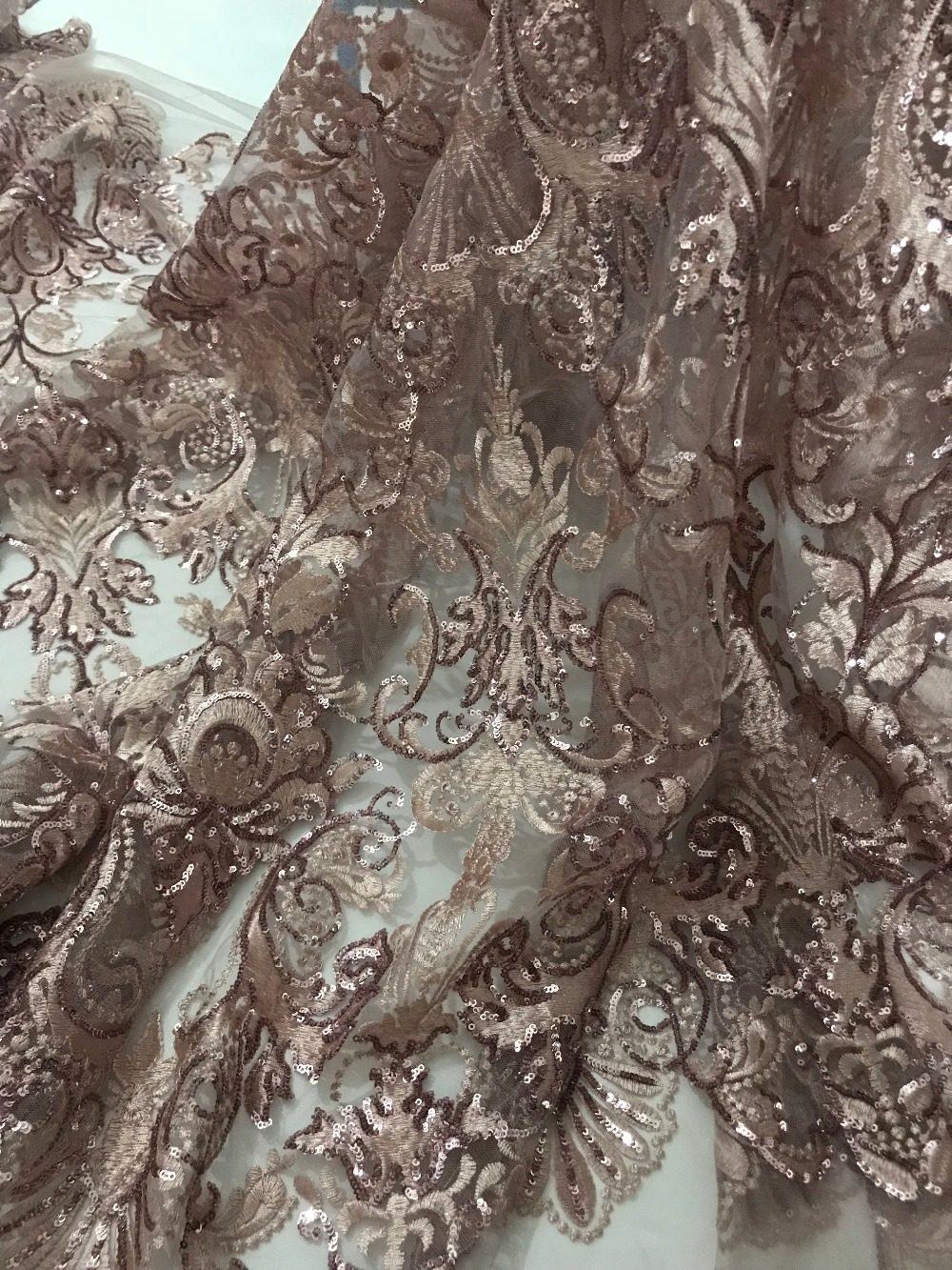 fast shipping 5 yards embroidery tulle mesh lace fabric david 71518with sequins for wedding dress