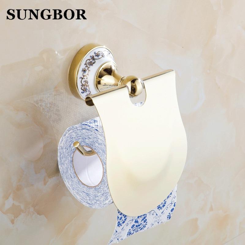 ФОТО Free Shipping Bathroom Accessories Blue & White Porcelain Chrome Finish Toilet Paper Holder/Bathroom Product GJ-6308K