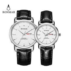 Парные часы Роскошные влюбленные кварцевые часы золотые женские мужские кожаный ремешок Роскошные ультратонкие часы модные часы RONMAR бренд