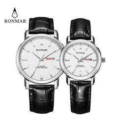 Couple Watch Luxury Lovers' Quartz Watch Gold Women Men Leather Strap Luxury Ultrathin Watch Fashion Watches RONMAR Brand