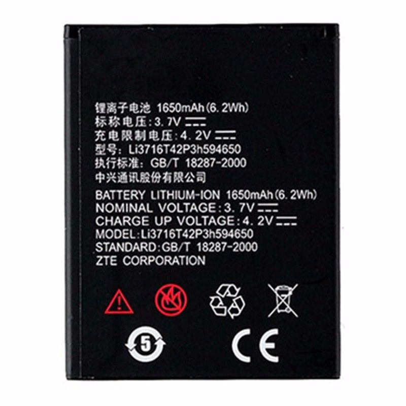 Origina High Capacity Li3716T42P3h594650 phone <font><b>battery</b></font> For <font><b>ZTE</b></font> U970 U807 v807 N807 V930 U930 N970 <font><b>V970</b></font> V889S V889M U795 1600mAh image