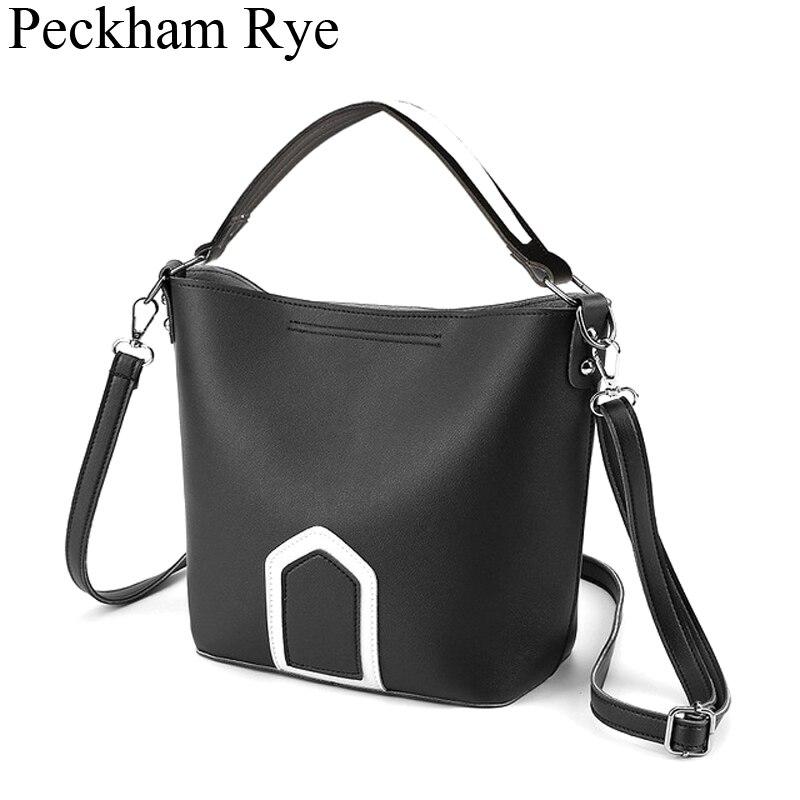 2019 Fashion Panelled Women Handbag Designer White Black Ladies Big Shoulder Hand Bags Crossbody Bucket Tote Bag Bolsa Feminina