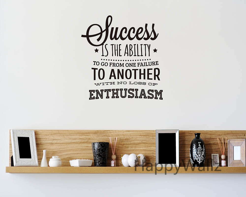 Success Motivational Quote Wall Sticker Enthusiasm Quote Wall - Wall decals motivational quotes