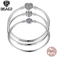 VOROCO Romantic 925 Sterling Silver High Quality Solid Silver Heart Snake Clasp Bangle For Women DIY