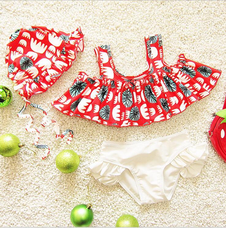 2018 enfants filles fleurs volants ensemble bikini enfants maillot de bain en bas âge de mode vêtements de plage maillots de bain pour enfants 0 6ans dans Maillots de bain de Mère et Enfants