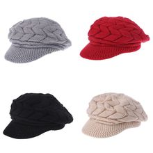 New Women Ladies Winter Hat Fashion Warm Beanies Knitted Hats Caps Solid Color new men women winter hats 2016 fashion crimping hat high quality solid color knitted beanies brand warm beanie caps cp034