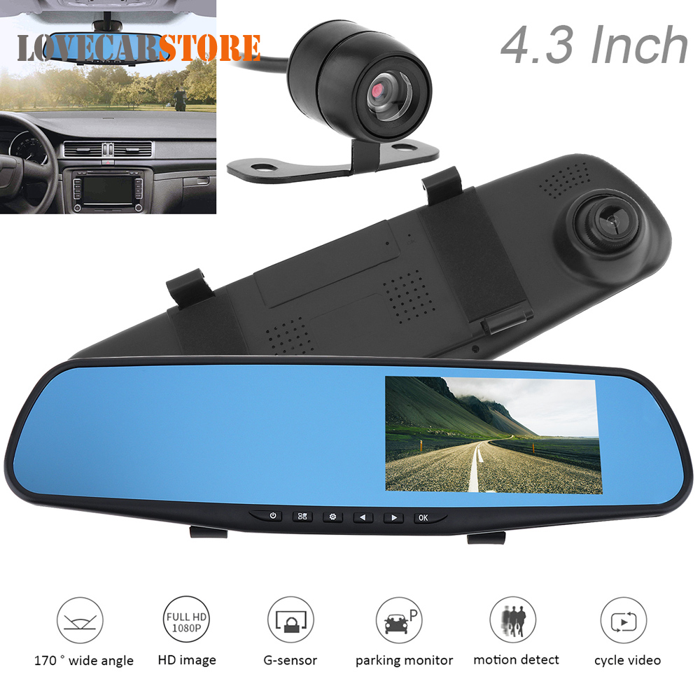 1080P Full HD Rearview Mirror Car DVR Motion Detection Night Vision G sensor Dual Channel Video