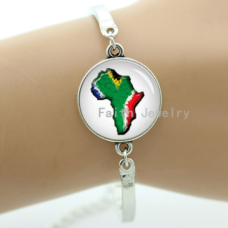 South Africa bracelet RSA south African flag charms handmade cape cod U.S. States Map Scottish Flag jewelry for men women T804