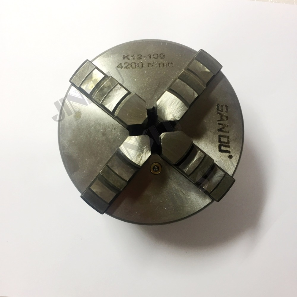 4 Jaws Manual Self-Centering Lathe Chuck K12-100 100mm manual lathe chuck k01 80b k01 100b mini 3 jaws chuck 14 1 self centering clamping hardened steel lathe chuck