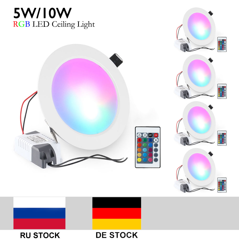 5pcs / lot 5W 10W RGB LED Hvid Shell Ceiling Light Down Lights Indbygget Spotlight Løg Med Remote RGB AC85-265V CE / ROHS