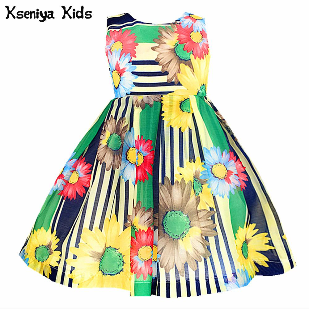 Kseniya Kids 2017 Baby Girl Summer Sleeveless Princess Flower Floral Print Dress Girls Clothes For Party And Wedding Dresses girl dress 2 7y baby girl clothes summer cotton flower tutu princess kids dresses for girls vestido infantil kid clothes