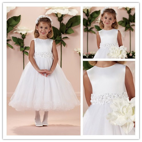 Pageant Gown First Communion   Dresses   2016 Beautiful White   Flower   Appliques   Flower     Girl     Dress   for Wedding Kids Princess   Dress