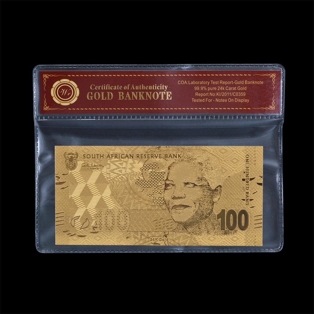 South Africa NELSON MANDELA 99.9% metal Gold Foil Banknote Embossed 100 Rand With C.O.A PACK