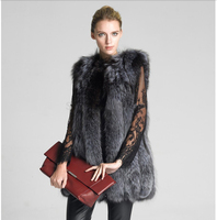 Dark Grey Elegant Winter Women Faux Fur Vest Thick Warm Soft Cardigan Sleeveless Female Long Faux Fur Vest Ladies Fox Collar