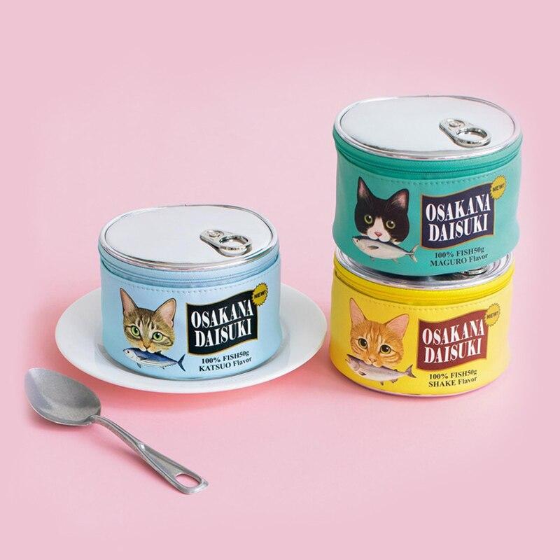 Comida de gato patrón puede de cosméticos paño bolsa cosmética bolsa de almacenamiento de bolsas de creativo de cilindro organizador aseo Kit de maquillaje bolsa de paquete de accesorios