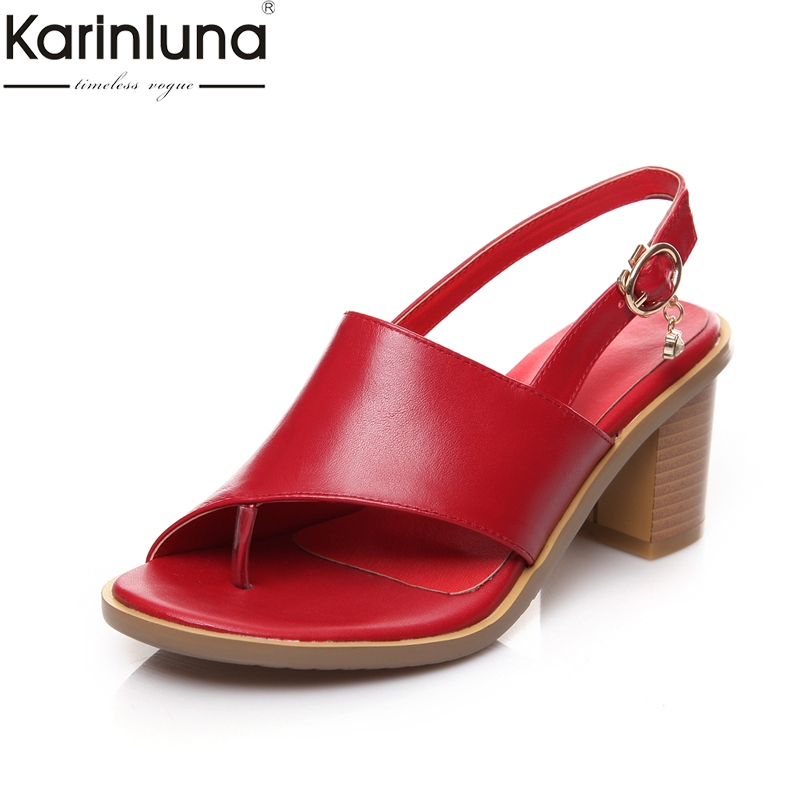 KARINLUNA 2019 plus size 33 43 dropship chunky heels natural cow genuine leather women's Shoes woman date summer sandals shoes-in High Heels from Shoes    1