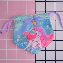cool 1PCS Mermaid princess Shell Cartoon Drawstring Bags Cute Silk Storage Handbags makeup bag Coin Bundle Pocket Purse NEW