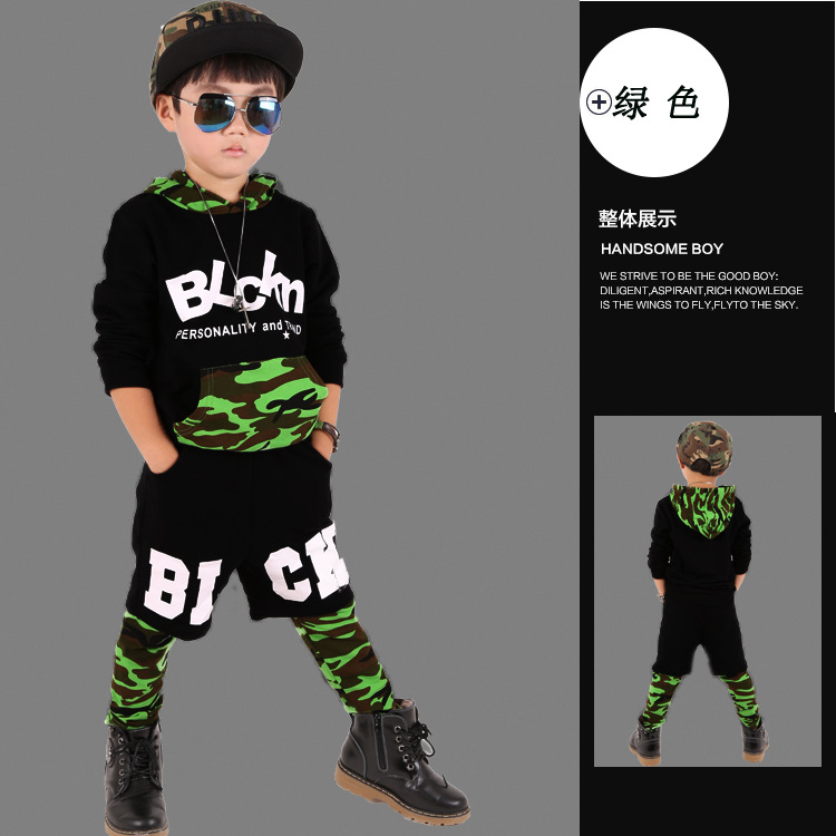 Spring AutumnKids Set Unisex Costumes Black Green Camouflage Hip Hop dance Leggings & Shorts & Sweatshirt  kids 3pcs suits 2016 kids adults spring summer geometric star set black costumes hip hop dance pants