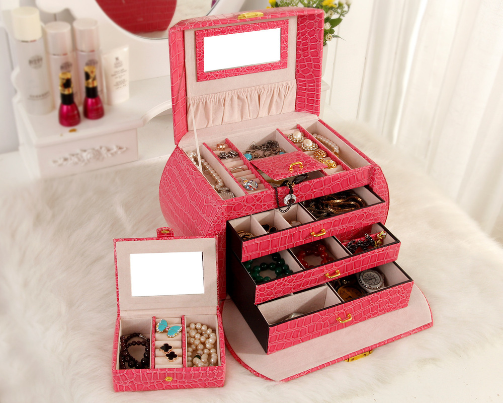 5pcslot Provide high-grade pure portable large capacity leather Jewelry boxes Jewelry Storage Cases box custom cosmetic box