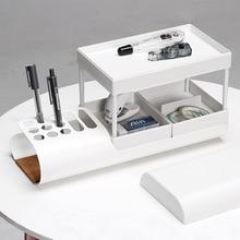 Модные Nordic Минималистский многослойный ящик офисный канцелярский Настольный органайзер подставка для ручек, для хранения коробка стойка для хранения косметики