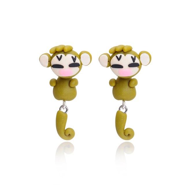 2015 חדש עבודת יד קוף חמודה חימר פולימרים יפה Brincos תכשיטי אוזן עגילי בעלי החיים Stud קאף Stud לנשים ילדי מתנה