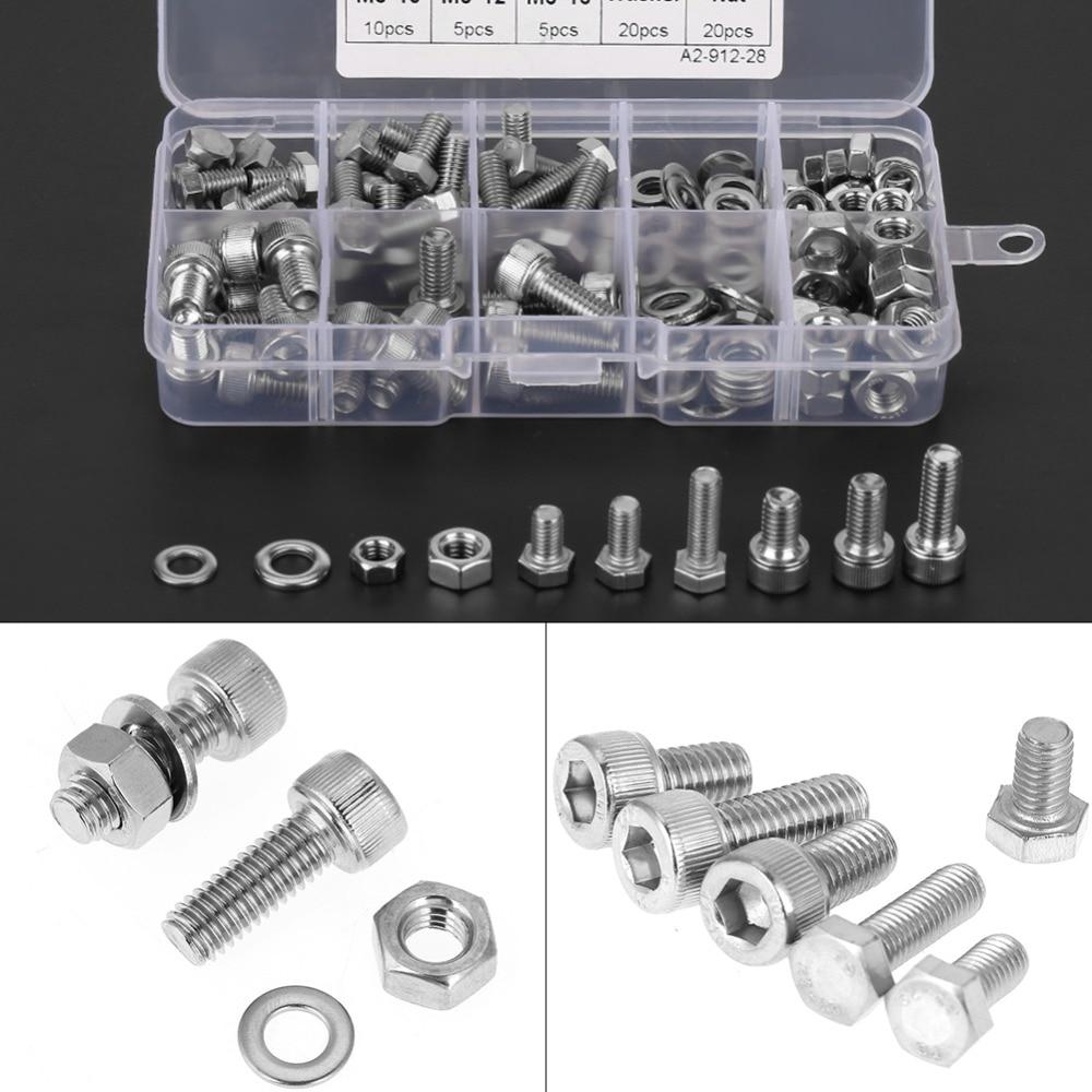 170pcs Stainless Steel M5/M6 Hex Socket Head Cap Screws Bolt Washers Nuts Kit ksol m6 x 70mm threaded 1mm pitch hex socket head cap screws bolts 5 pcs