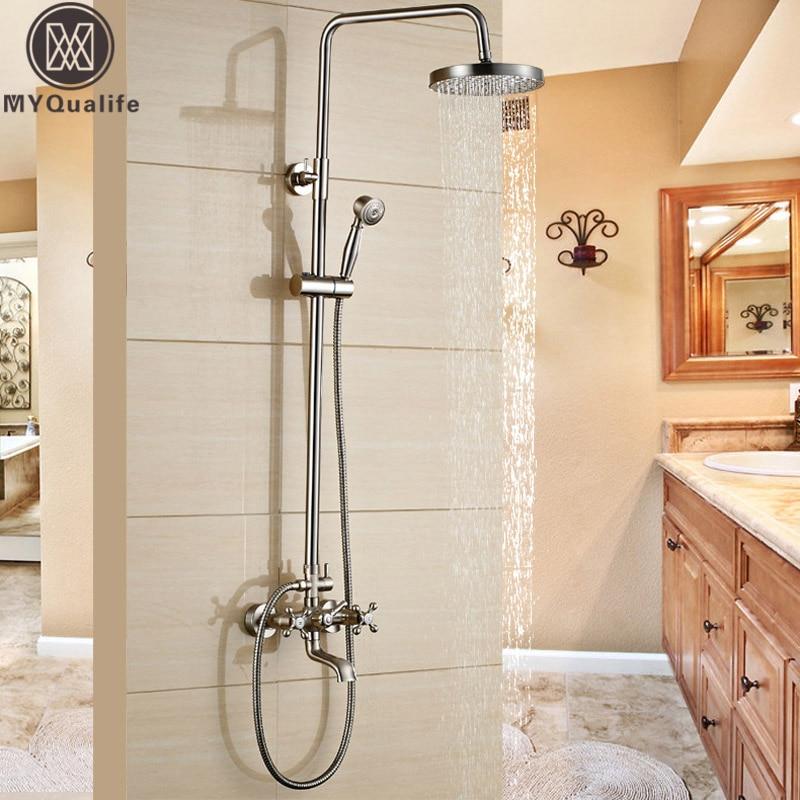 Brushed Nickel Shower Set Faucet Wall Mount Dual Cross