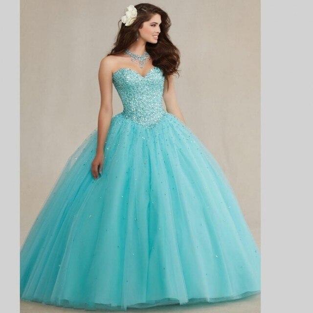 8cd834043 Quinceanera Dresses Long 2017 vestidos de 15 anos Sweet 16 Princess  Masquerade Ball Gown Crystal Beading Cheap Quinceanera Gown