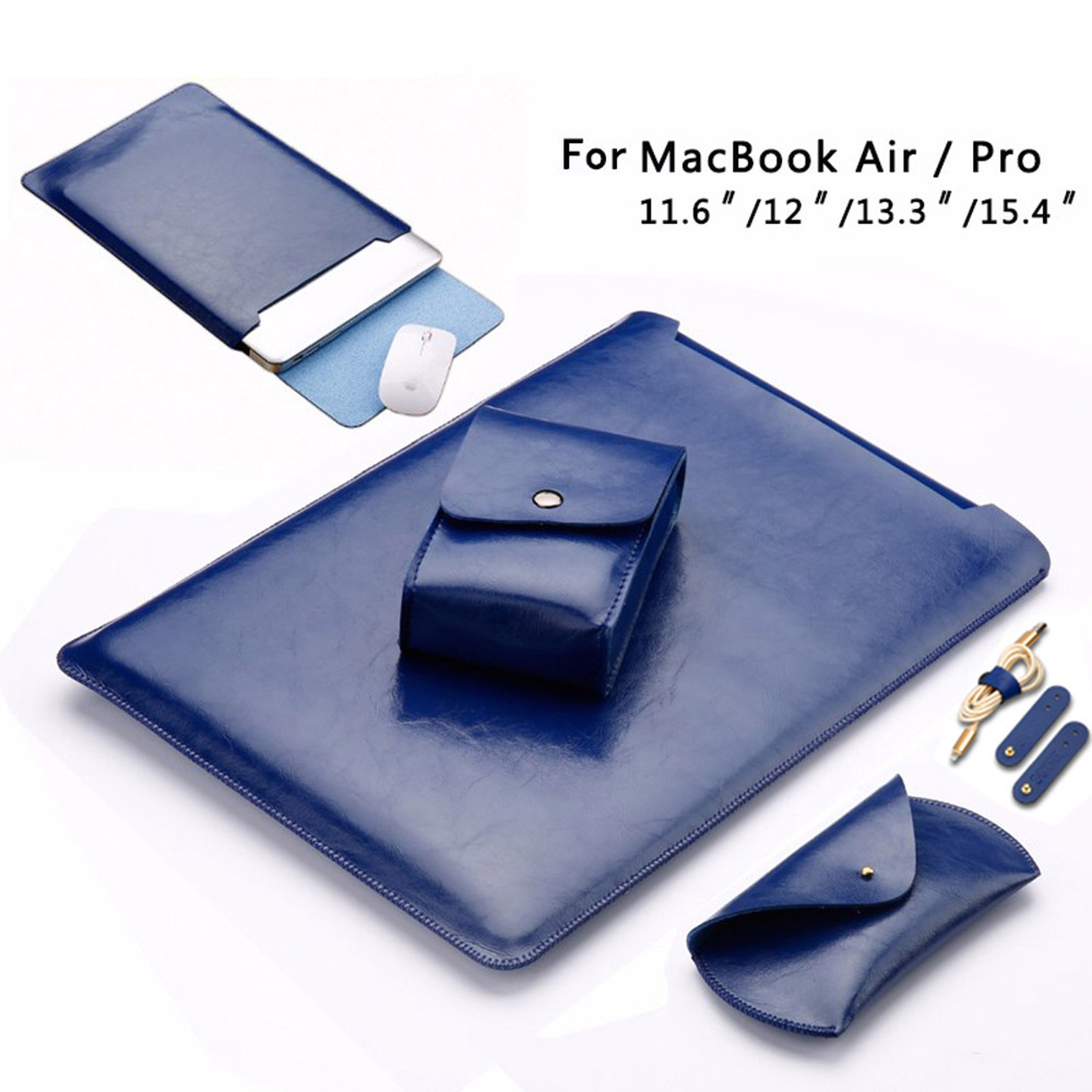 2017 Laptop Sleeve Case Pouch  Solid Charger Bag Mouse Case 3pcs Cable Winder Leather Cover for Macbook  Pro 13 inch Macbook