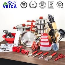 80 шт. набор кастрюль и сковородок посуда лопата ложка для супа из нержавеющей стали и нейлонового материала кухонные инструменты набор посуды
