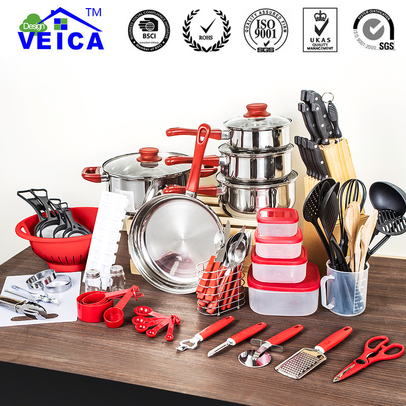 80 Pcs Cooking Pots And Pans Set Utensils Shovel Soup Spoon Stainless Steel And Nylon Material Kitchen Tools Cookware Set