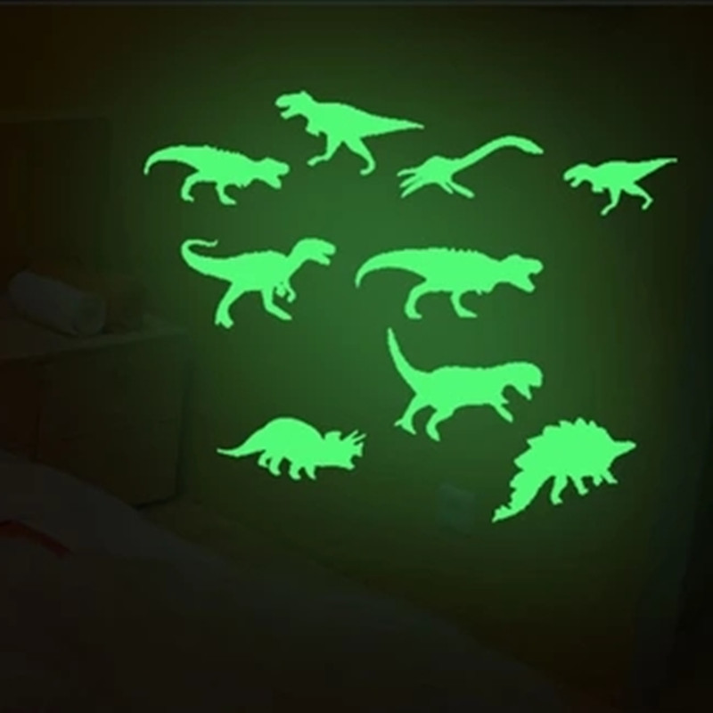 9Pcs/set Fluorescent Dinosaurs Stickers Baby Kids Toy Children Luminous Dinosaurs Sticker For Kids Kid Glow In The Dark Toys