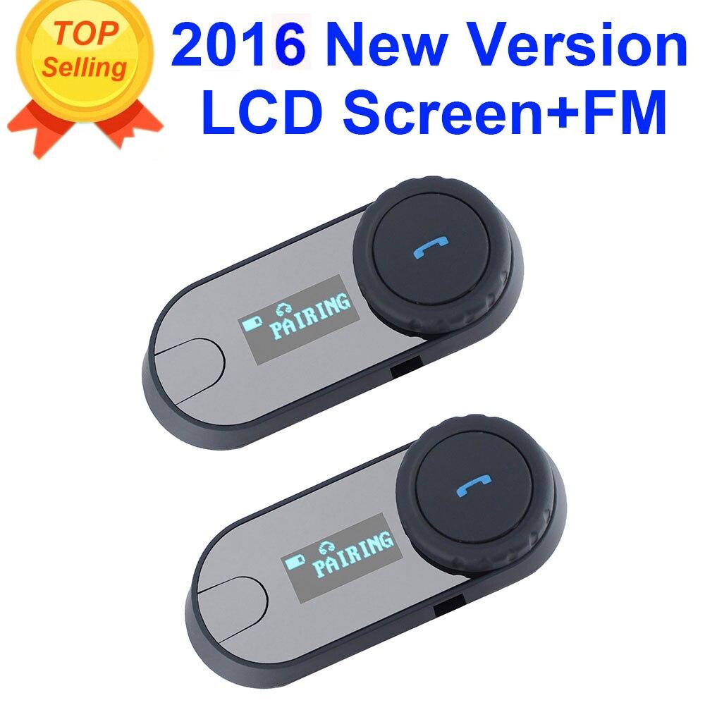 2 pcs 2016 Updated TCOM-SC BT Bluetooth Motorcycle Helmet Intercom Interphone Headset with LCD screen + FM Radio цена
