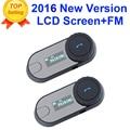2 unids 2016 Actualizado TCOM-SC BT Interphone Bluetooth Casco de La Motocicleta Intercom Headset con pantalla LCD + Radio FM