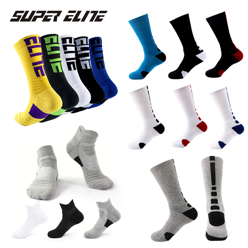 Super Elite Men Sports Socks Riding Cycling Basketball Running Sport Sock Summer Hiking Tennis Ski Man Women Bike Bicycle Slip