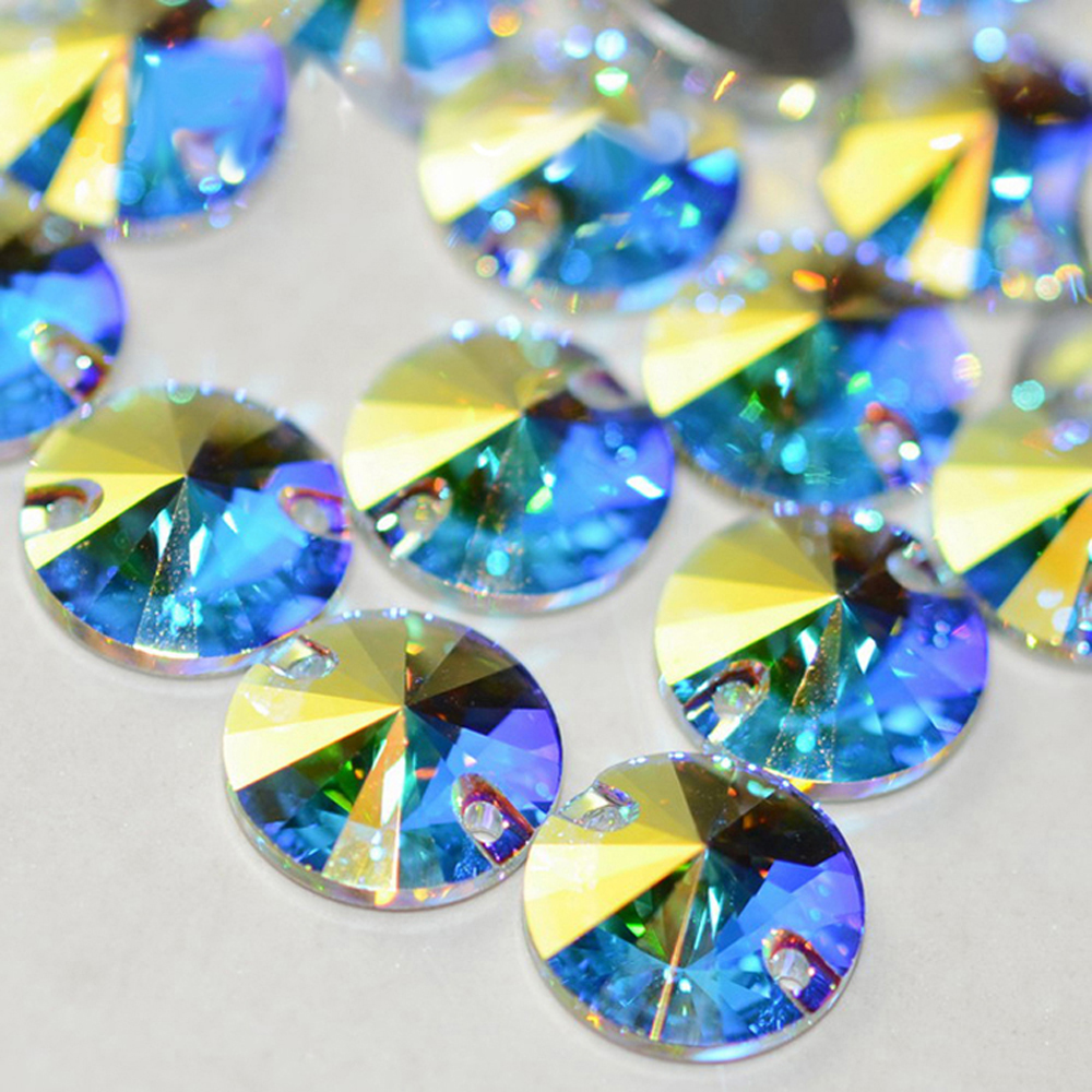 YANRUO 3200 All Sizes AB Rivoli Glass Stones Top Quality Flatback Sewing Crystal Strass Craft Sew On Rhinestone For Clothes