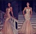 Sexy Sirena Vestidos de Noche de Gasa Con Cuentas de Cristal de Oro Lentejuelas Vestido De Festa Piso-Longitud Del Partido Vestido de Noche F1048