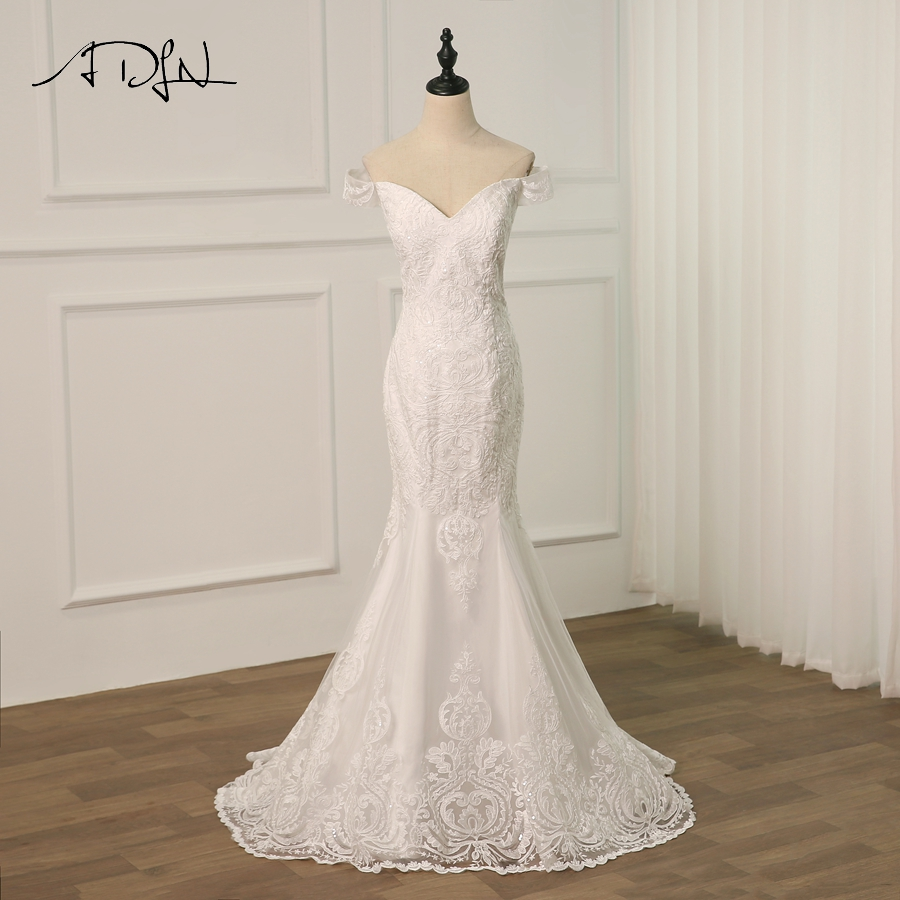 ADLN Real Mermaid Wedding Dress with Detachable Train Sleeveless Off the Shoulder Lace Bridal Wedding Gowns