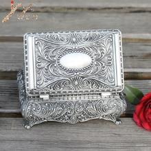 Оловянное покрытие большой размер цветок Выгравированная металлическая шкатулка для украшений, цинковый сплав брелок подарочная коробка, хороший ювелирный чехол
